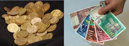 Monnaie en or : valeur réelle / Billet de banque : valeur virtuelle